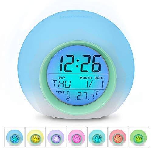 HAMSWAN [Geburtstagsgeschenk für Kinder LED Wecker, JL-C018 7 Farben Ändern Wecker, Schlaf-Friendly mit...