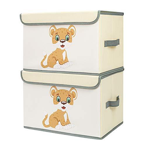 DIMJ 2 Stück Kinder Aufbewahrungsboxen mit Deckel, Große Spielzeugkiste, Aufbewahrungskiste mit Griffe,...
