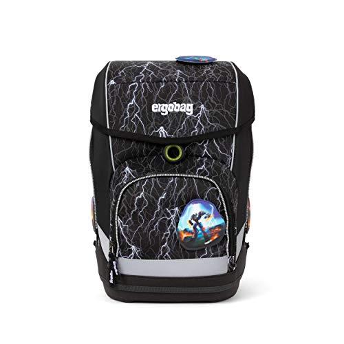 Ergobag cubo SuperReflektBär Glow, ergonomischer Schulrucksack, Set 5-teilig, 19 Liter, 1.100 g, Schwarz