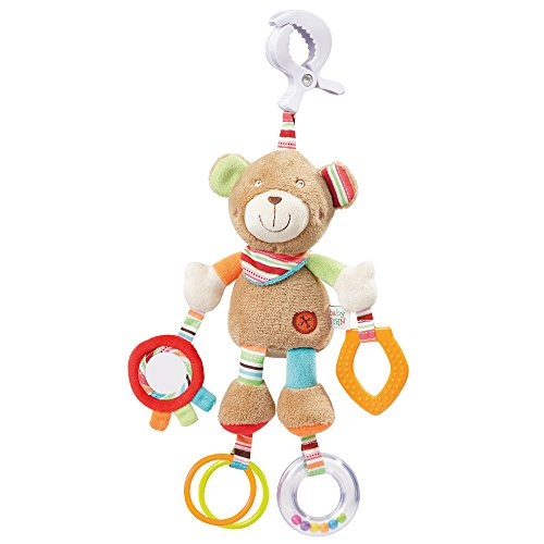 Fehn 091878 Activity-Spieltier Teddy – Motorikspielzeug zum Aufhängen mit Spiegel & Ringen zum Beißen,...