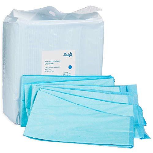Krankenunterlagen 50 Stück 40x60cm 6-lagig blau, Einwegunterlagen, Einmalunterlagen, Inkontinenzunterlagen,...