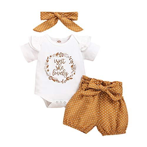 YEBIRAL Babykleidung Set Baby Mädchen Kleidung Kurzarm Body Strampler + Hose + Stirnband Neugeborene...