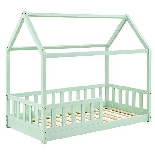 ArtLife Kinderbett Marli 80 x 160 cm mit Rausfallschutz, Lattenrost und Dach - Hausbett für Kinder aus...