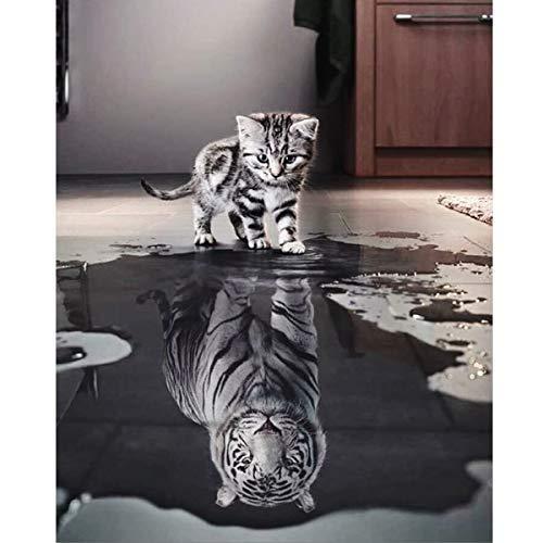 YIMAKJ Malen nach Zahlen Erwachsene, DIY Handgemalt Ölgemälde für Kinder Anfänger- Katze oder Tiger...