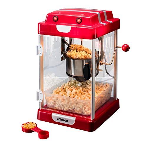 celexon CinePop CP1000 Popcorn-Maschine - 24,5x28x43cm - Rot-Retro/Kino-Design- Edelstahlkessel -...