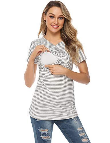 Aibrou Damen Umstandsmoden Top Stripes Schwangerschaft Top Stillshirt Lagendesign Wickeln-Schicht Weiß M