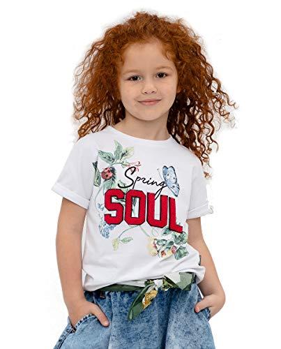 GULLIVER T-Shirt Kinder T Shirt Mädchen Tshirt Weiss Baumwolle Rundhals Kurzarm 3-8 Jahre