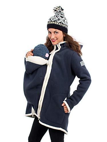 Viva la Mama I Umstandsmode Mantel Winterjacke Damen Tragejacke mit Einsatz Winter Fleece - Arctica blau - M