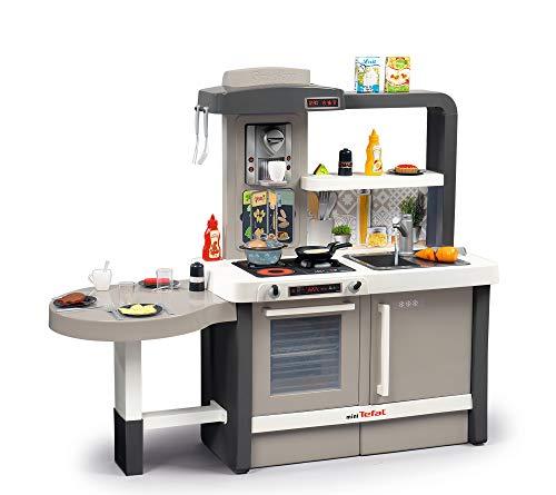 Smoby Tefal Evo Küche mitwachsende Kinderküche mit Spüle, Herd, Essecke, viel Zubehör, Wasserhahn mit...