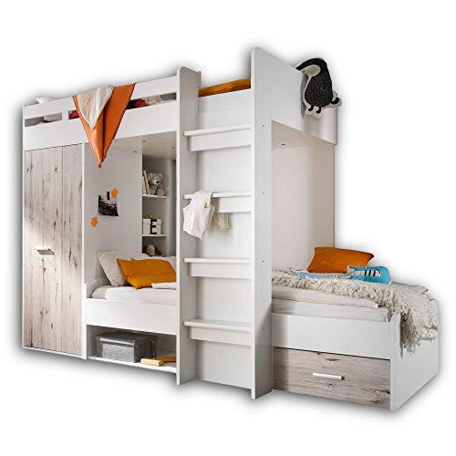 Stella Trading MAXI Hochbett mit Schrank & 2x Liegeflächen 90 x 200 cm - Platzsparendes Kinder Etagenbett in...