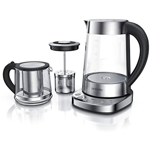 Arendo - Glas Wasserkocher mit Temperatureinstellung und Teesieb sowie Aufsatz - Türkischer Teekocher -...