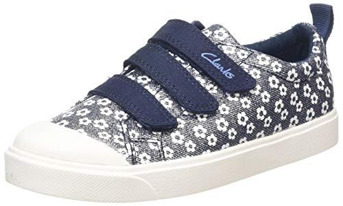 Clarks Unisex-Kinder City Vibe K Sneaker Niedrig, Blau (Navy Floral), 34 EU