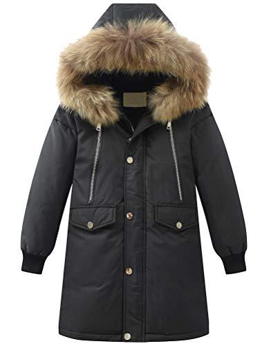 FTCayanz Jungen Winterjacke Winter Mantel Verdickte Daunenjacke mit Fellkapuze Warm Kinderjacken Lang Jacke...