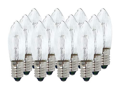 Selldorado® 12 Stück Riffelkerze klar-weiß 34V 3W E10 Sockel, Spitzschaftkerze,Topkerze, Ersatzkerzen...