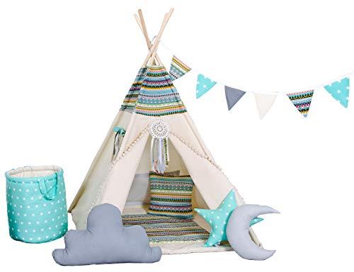 Golden Kids Kinder Spielzelt Teepee Tipi Set für Kinder drinnen draußen Spielzeug Zelt Indianer Indianertipi...