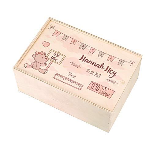 Striefchen® Holzbox zur Erinnerung an das erste Babyjahr oder als Geschenk zur Geburt - mit Namen des Kindes...