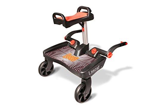 Lascal BuggyBoard Maxi+, Kinderbuggy Trittbrett mit großer Stehfläche und Saddle, Kinderwagen Zubehör für...