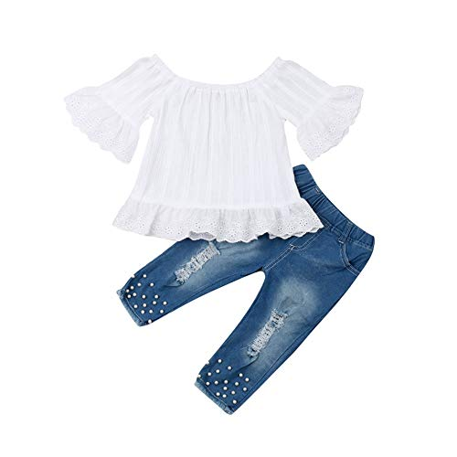 Geagodelia Kinder Mädchen Sommer Outfit 2PCS Kurzarm Bluse + Lang Denim Jeans Hosen 1-6 Jahre Schulterfrei...