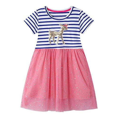 JinBei Mädchen Pferd Kleider Kinder Pailletten Rosa Rot Blau Streifen Sommer Kurzarm Spitzenrock Kleid...