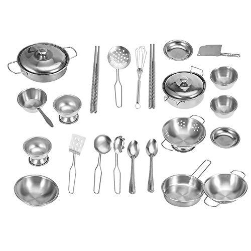 Küchenspielzeug, Kochgeschirr Kochspielzeug Set für Kinder Jungen Und Mädchen Küchenspielzeug Edelstahl...