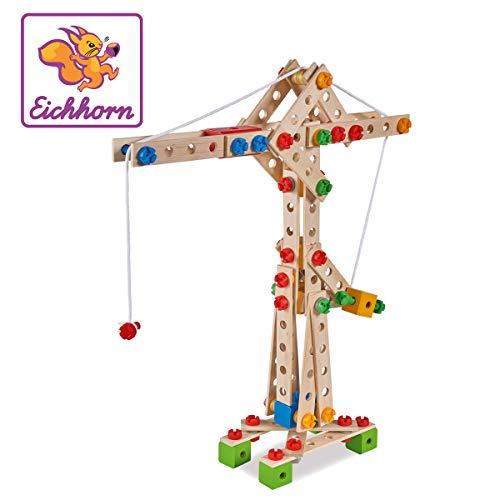 Eichhorn 100039047 - Kran 170-teilig Holz-Konstruktions-Set, 5 verschiedene Modelvarianten baubar, FSC 100%