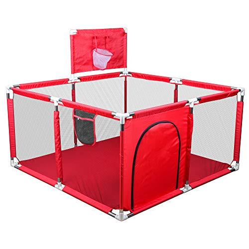 Jedona Laufstall Baby,Laufgitter mit Basketballkorb,Spielzaun für Kinder Sicherheit Spielplatz mit...