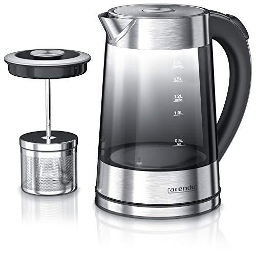 Arendo - Glas Wasserkocher mit Temperatureinstellung und Teesieb - Edelstahl Teekocher – Rauchglas mit...