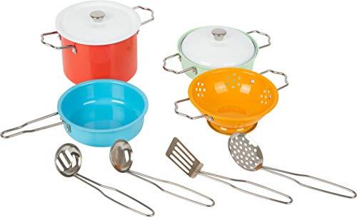 Small Foot 11751 Kochgeschirr-Set Metall, Zubehör für Spielküche, Rollenspielzeug für Kinder ab 3 Jahren...