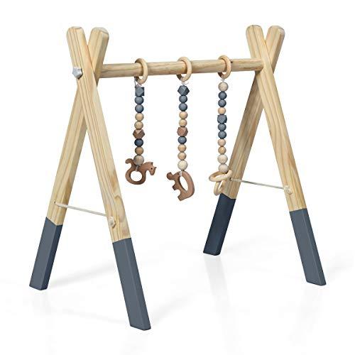 RELAX4LIFE Spieltrapez aus natürlichem Holz, für Baby über 3 Monaten, Spielbogen im nordischen Stil,...