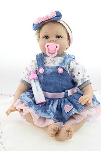 ZIYIUI Reborn Baby Mädchen 22zoll/55cm Babypuppen Reborn Toddler Silikon Puppen Baby Im Jeansrock Handgemacht...