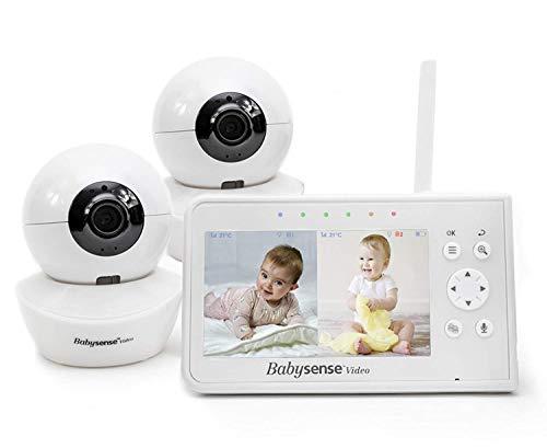 """Babysense Babymonitor mit Geteilter Bildschirm 4,3"""", Video Babyphone mit zwei Kameras, PTZ-Funktion,..."""