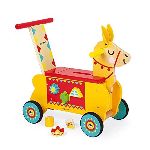 Janod J08004 Lama-Reittier aus Holz für Kinder, leise Räder, Staufach und 6 Klötze, Gleichgewicht lernen,...