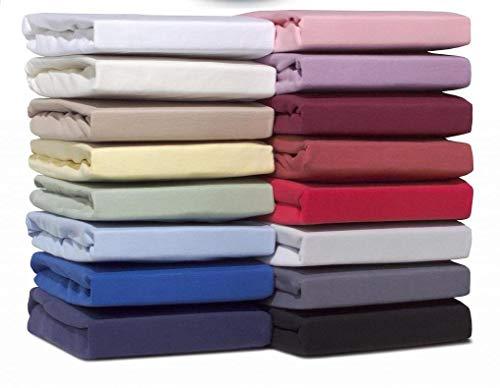 Double Jersey -Spannbettlaken Doppelpack - 100% Baumwolle Jersey-Stretch bettlaken, Ultra Weich und Bügelfrei...