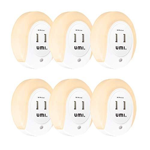 Umi. by Amazon Rundes LED-Nachtlicht für die Steckdose mit Dämmerungssensor und zwei USB-Ladeanschlüssen...