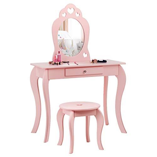 COSTWAY Kinder Schminktisch, Make-up Tisch mit Hocker und abnehmbarem Spiegel, Frisierkommode Holz, Mädchen...
