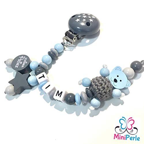Schnullerkette mit Namen - Mädchen - Junge - viele Modelle - viele Farben (grau, blau, hellgrau, Prinz,...