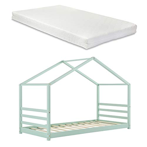 Kinderbett mit Matratze 90 x 200 cm Hausbett mit Kaltschaummatratze ÖKO-Tex Standard 100 Bettenhaus...