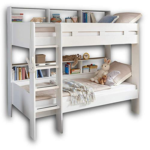 Gaius Hochbett mit Leiter & zwei Liegeflächen 90 x 200 cm - Platzsparendes Kinder Etagenbett in weiß - 129 x...
