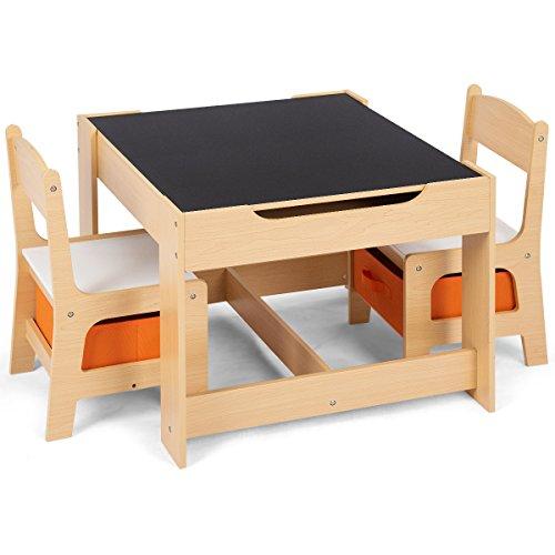 COSTWAY 3 TLG. Kindersitzgruppe, Sitzgruppe Kinder aus Holz, Kindertisch mit 2 Stühlen, Kindertischgruppe,...