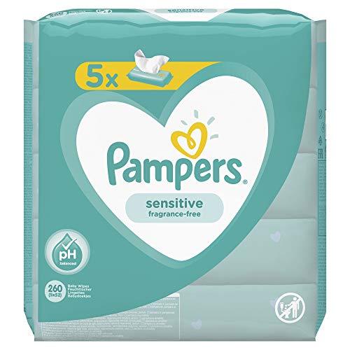 Pampers Sensitive Baby Feuchttücher, 260 Tücher (5 x 52) Für Empfindliche Babyhaut, Dermatologisch...