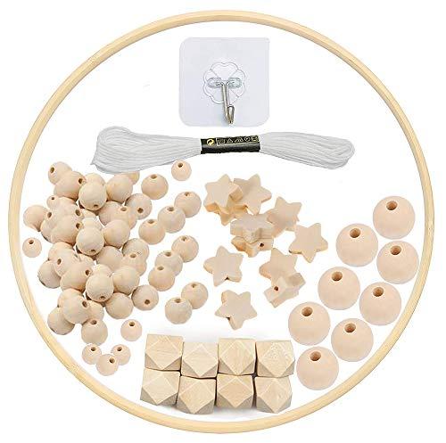 DIY Holz Mobilen Rahmen Windspiel Bettglocke Kit, Natürliche Handwerk Holzperlen Wind Glockenspiel, Baby...