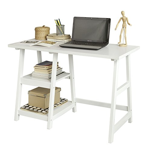 SoBuy FWT16-W Schreibtisch mit 2 Ablagen Tisch Computertisch Kinderschreibtisch Bürotisch weiß BHT ca.:...