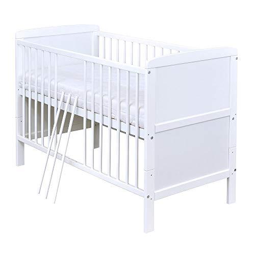 Baby Delux Babybett Kinderbett Juniorbett Natalie 140x70 Weiß umbaubar mit Matratze