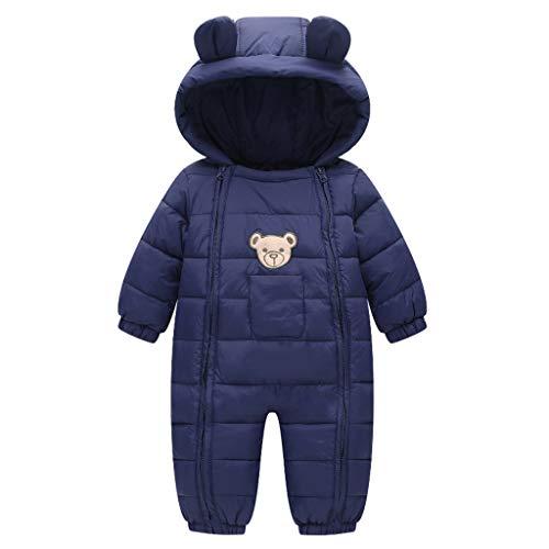 Baby Winter Overall Mit Kapuze Schneeanzüge Outfits Bär Strampler Jungen Mädchen Spielanzug Marine 6-12...