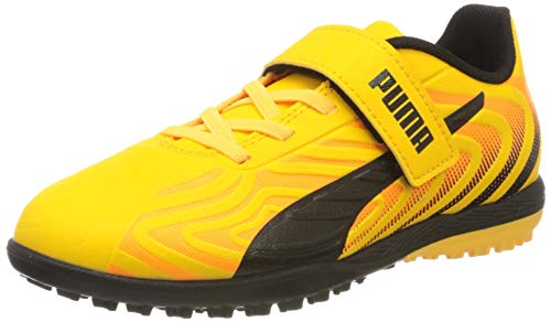 PUMA Unisex-Kinder One 20.4 Tt V Jr Botas de fútbol, Gelb (Ultra Yellow Black-Orange Alert), 34 EU