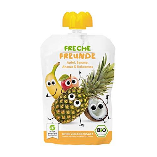FRECHE FREUNDE Bio Quetschie Apfel, Banane, Ananas & Kokosnuss, Fruchtmus im Quetschbeutel für Babys ab dem...