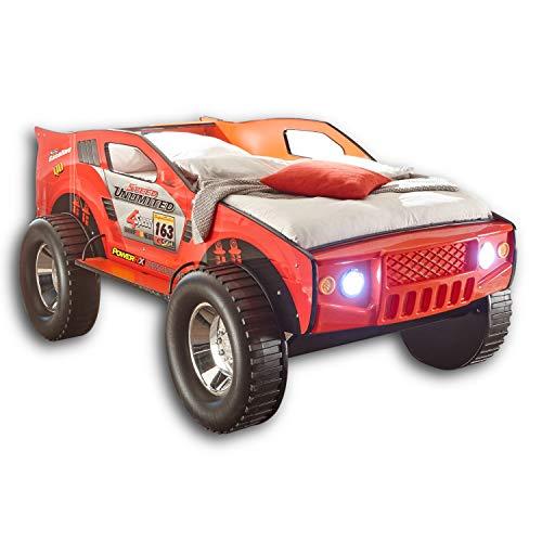 Stella Trading JEEP Autobett mit LED-Beleuchtung 90 x 200 cm - Aufregendes & hohes SUV Auto Kinderbett für...