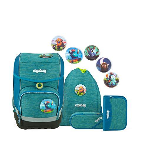 ergobag cubo Set - ergonomischer Schulrucksack, Set 5-teilig - MonstBärfreunde - Blau