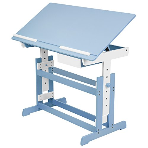 TecTake 400927 Kinderschreibtisch 109x55cm höhenverstellbar neigbar blau weiß