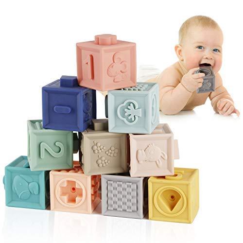ZIDA Babyblöcke mit Weiche Bausteine Babyspielzeug, Beißringe Pädagogische Bunte 3D Soft Squeeze...
